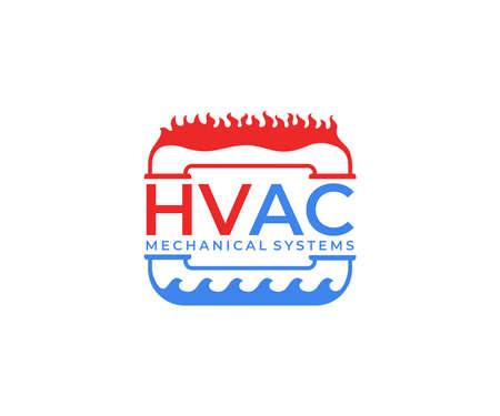 HVAC systems, plumbing, heating, ventilation and air conditioning, logo design. Construction, repair and installation of air conditioners and ventilation system, vector design and illustration Ilustração