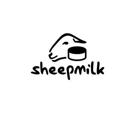 Sheep milk cheese logo design. Ewe and head of cheese vector design. Sheep farming logotype