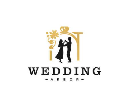 Wedding arbor decorations logo design. Romantic bride and groom dance vector design. Bridal ceremony logotype