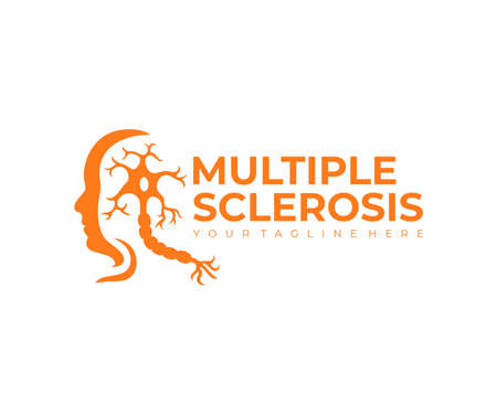 Multiple sclerosis, autoimmune disease and human face, logo design. Disease, medicine, neuron and the nerves of the brain and spinal cord, vector design and illustration Ilustração