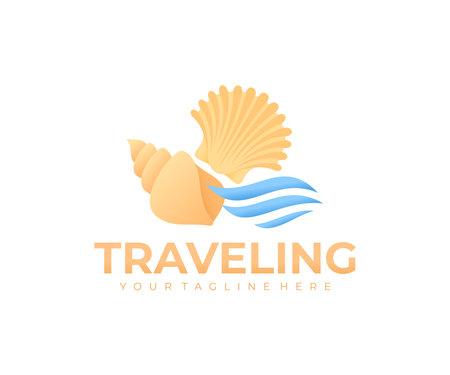 Traveling, beach, seashells and waves, logo design. Travel, journey, sea and ocean, vector design and illustration Ilustração