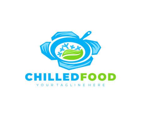 Chilled food, skillet, snowflake and leaf, logo design. Kitchen, cuisine, eating and eat, vector design and illustration Ilustração