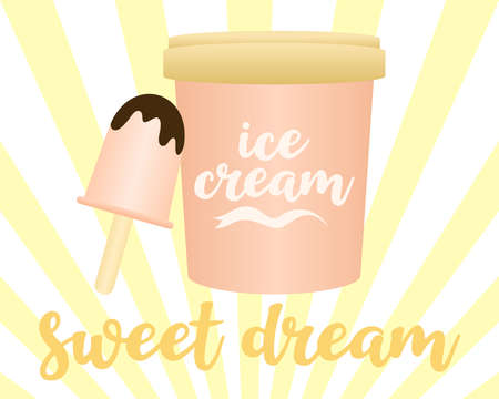Ice cream bucket, melting chocolate, logo design. Sweet food, food, meal and cafe, vector design and illustration