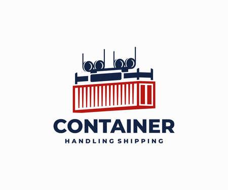 Container box handling logo design. Shore crane loading vector design. Crane lifting cargo container logotype