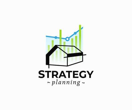 Property development logo design. Real estate investment vector design. Construction planning logotype