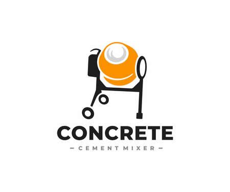 Concrete mixer logo design. Cement mixer machine vector design. Construction equipment logotype Ilustração
