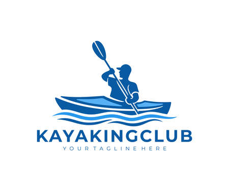 River kayaking, a guy in a kayak sails on river, logo design. Leisure kayakers touring, journey, travel and traveling, vector design and illustration
