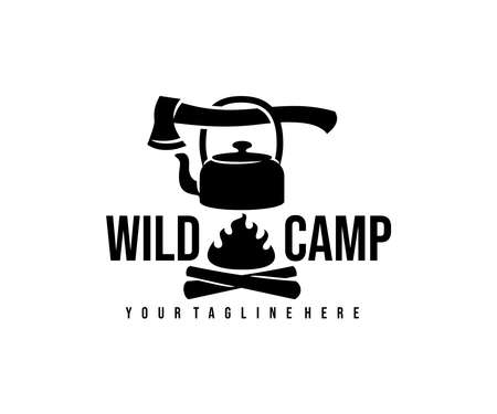 Camp, camping, ax, kettle and bonfire with fire, logo design. Hiking, adventure, survival and tourism, vector design and illustration Ilustracja
