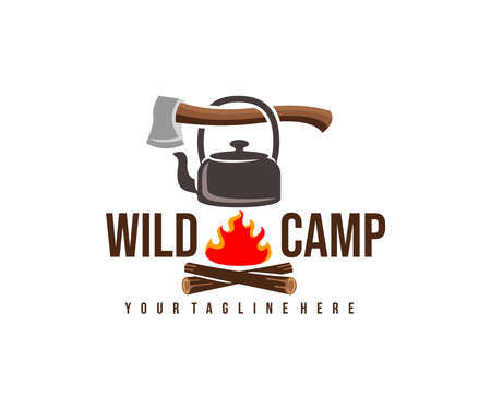 Camping, camp, ax, kettle and bonfire with fire, logo design. Hiking, adventure, survival and tourism, vector design and illustration Ilustracja