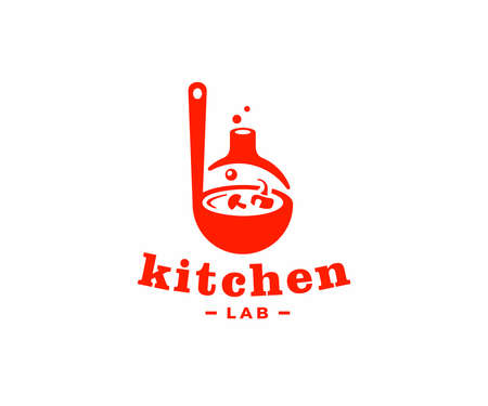 Kitchen laboratory   design. Cooking food vector design. Ladle with soup and lab flask logotype