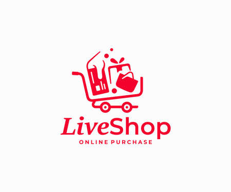 Online shopping  design. Purchases in the online store vector design. Shopping cart with credit card, bag and gift logotype Ilustracja
