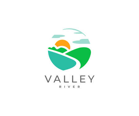 Mountain river design. River flowing between the green hills vector design. Colorful minimalist landscape logotype Ilustracja