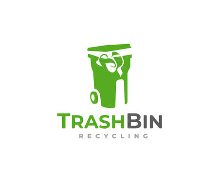 Trash bin design. Environmental protection conservation vector design. Recycling dustbin with green plants logotype