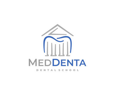 Dental learning design. College of dentistry vector design. Tooth and university building with columns logotype