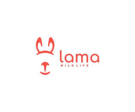 Lama design. Cute cartoon alpaca vector design. Llama linear wildlife logotype