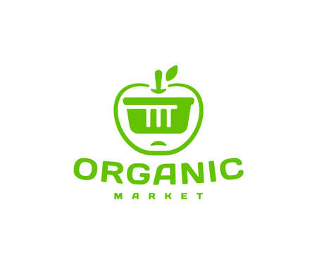 Buying organic food   design. Healthy vegetarian meals vector design. Natural products with shopping basket logotype Ilustracja