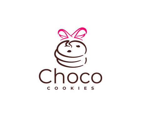 Chocolate chip cookies with ribbon   design. Bakery and desserts vector design. Ilustracja