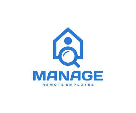 On demand staffing  design. Remote employee vector design. Human resource logotype Ilustracja