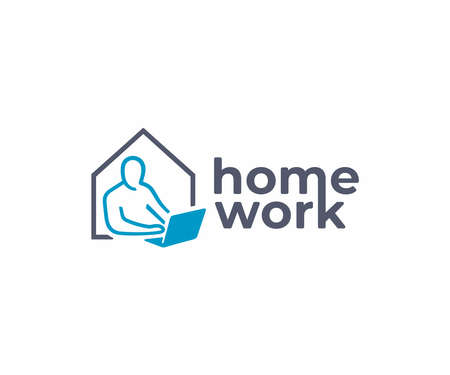 Home office  design. Remote employee vector design. Home working logotype