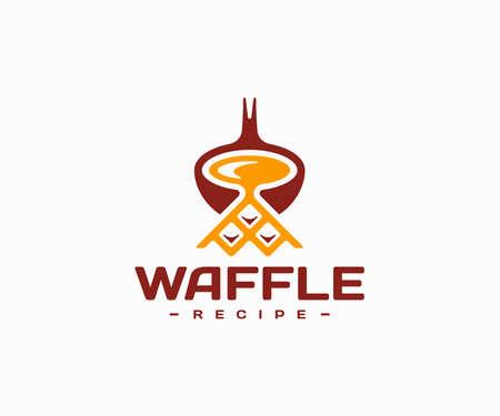Cooking waffles  design. Belgium waffles recipe vector design. Waffle dough with ladle logotype Ilustracja