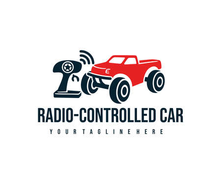 Radio controlled car with control joystick, the toy car with a remote control, logo design. Electric buggy, toy, auto radio control, vector design and illustration Ilustracja