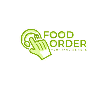 Food order or food ordering, food online and delivery, logo design. Food, meal, eating and takeaway food, vector design and illustration Ilustracja
