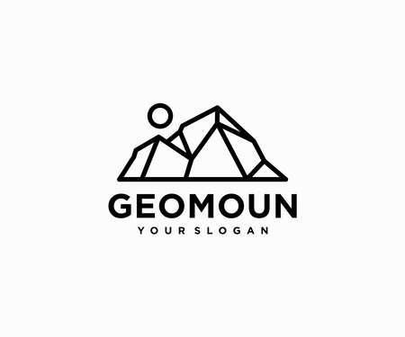 Geometric mountain landscape logo design. Polygonal mountains peak vector design. Adventure landscape logotype