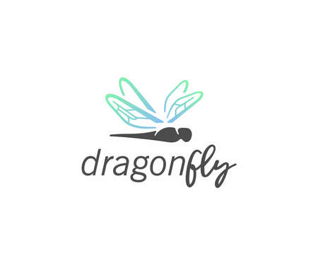 Dragonfly in flight logo design. Damselfly with colorful wings vector design. Insect logotype