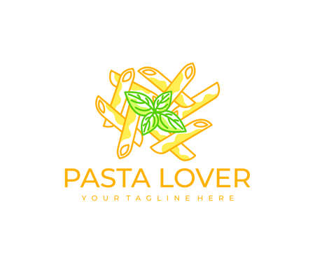 Pasta, macaroni, spaghetti and italian restaurant, logo design. Food, meal, fast food, catering and canteen, vector design and illustration