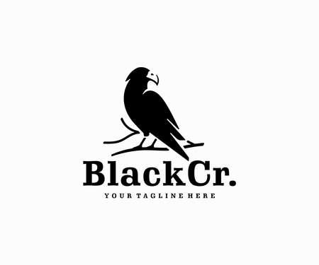 Raven wisdom logo design. Black crow sitting on a branch vector design. Bird silhouette logotype