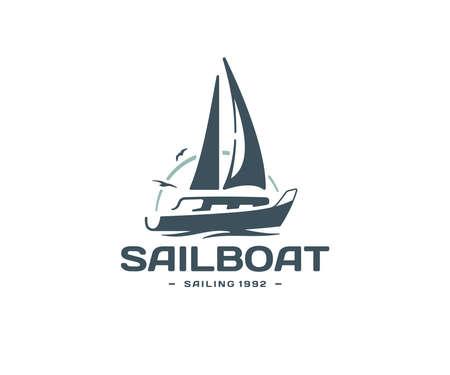 Sailing yacht logo design. Regatta on the background of birds and the sun vector design. Sea cruise logotype