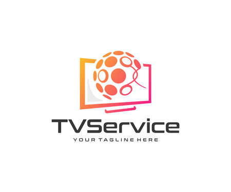 Technology and innovation logo design. Television technology vector design. Multimedia entertainment logotype