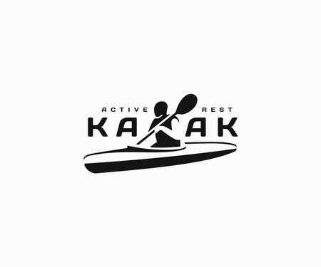 Kayaking tours logo design. River canoe adventure vector design. Man kayaking on lake logotype