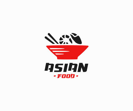 Asian cuisine logo design. Seafood rice bowl vector design. Japanese bowl with shrimp and crab logotype