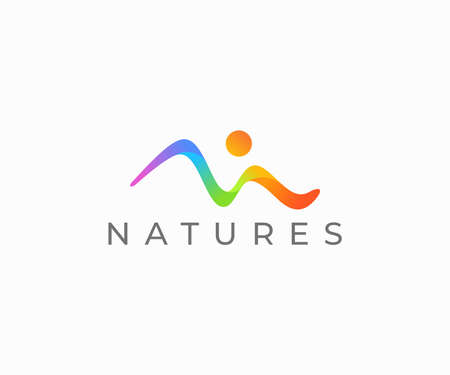 Colorful landscape logo design. Vibrant mountain line with sun vector design. Many-coloured nature logotype