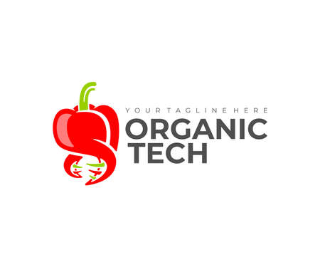 Genetic engineering, bell pepper and DNA, logo design. Organic technology, vegetable, food and meal, vector design and illustration
