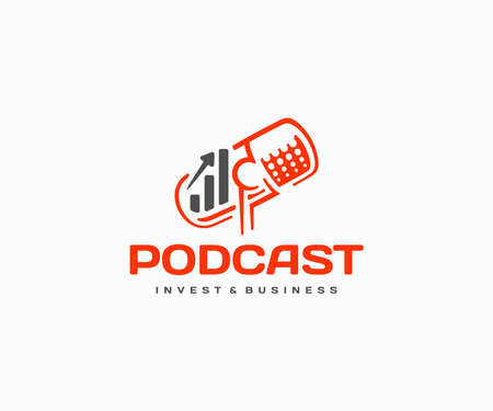 Finance podcast logo design. Financial talk show and money radio vector design. Finance, economics, and investment discussion logotype