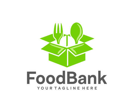 Grocery box, food, fork and spoon, logo design. Food bank, charitable foundation and organizations, vector design and illustration