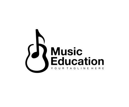 Music education, notes and guitar, logo design. Music instrument, musical school and music, vector design and illustration Ilustracja