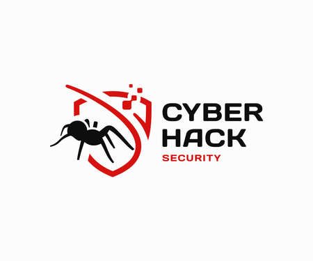 Computer virus definition logo design. Cyber security vector design. Spider and digital shield logotype