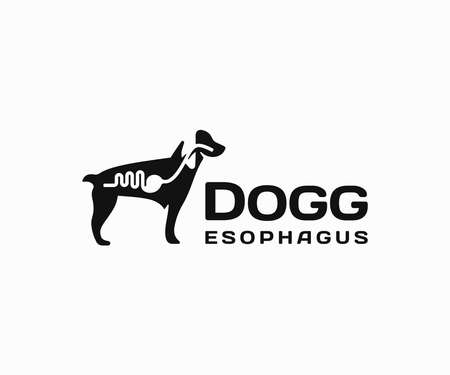 Dog anatomy logo design. Digestive system of the dog vector design. Dogs internal organs logotype Ilustracja