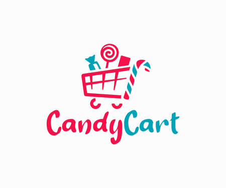 Candy shop logo design. Confectionery store vector design. Shopping cart and sweets logotype