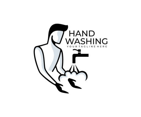 Man washes his hands and water flows from the tap, logo design. Cleanliness, hygiene and sanitation, vector design and illustration