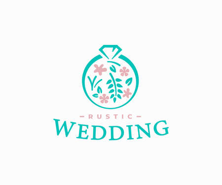 Rustic wedding logo design. Bridal ring of flowers and plants with diamond vector design. Wedding jewelry logotype