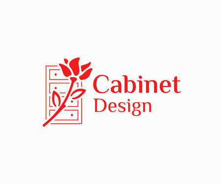 Cabinetry work logo design. Wooden frame cabinet door and drawers with rose vector design. Cabinet finishing logotype