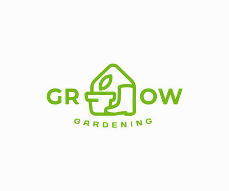 Indoor gardening   design. Home gardening and horticulture vector design. House pot plants and garden boots logotype