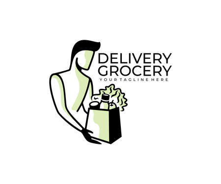A man holding a bag of groceries, delivery of products  design. Food, food delivery and order food, vector design and illustration