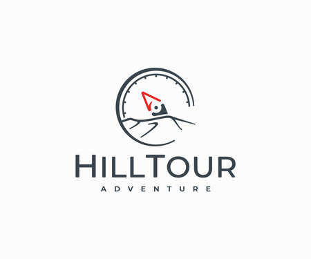 Compass and mountains  design. Traveling, hiking and camping vector design. Adventure, journey, vacation logotype Ilustracja