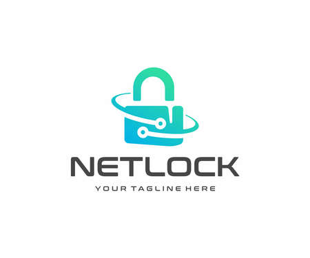 Cybersecurity and information technology  design. Data protection and privacy information management system vector design. Internet technology and padlock with circuit logotype Ilustracja