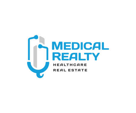 Medical real estate investment  design. Healthcare office buildings vector design. Skyscraper building and stethoscope logotype Ilustracja